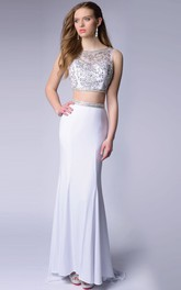 2 Featuring Glimmering-Bodice Piece Sleeveless Homecoming Chiffon Dress