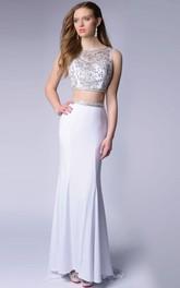2 Featuring Glimmering-Bodice Piece Sleeveless Homecoming Chiffon Dress