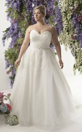 Sweetheart A-line Tulle Ball Gown With Appliques And Sweep Train