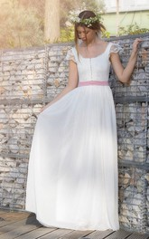 Cap-sleeve square-neck Chiffon long Wedding Dress With bow And Low-V Back