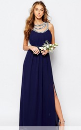 A-Line Beaded Scoop-Neck Long Sleeveless Chiffon Bridesmaid Dress With Split Front And Ruching