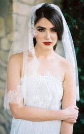 Simple Retro New Lace Applique Bride Wedding Veil Short Section Travel Photo Studio Photography Soft White Tulle