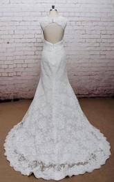 Wedding High-Waist Open Back V-Neckline Classic Gown