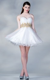 A-Line Waist Jeweler Ruffled Mini Sweetheart Sleeveless Strapless Satin Dress