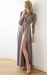 V-neck Long Sleeve Front-split Ankle-length Dress With Pleats