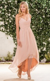 Spaghetti High-low Chiffon Dress With Criss cross