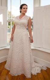 Sleeveless Court-Train Long A-Line Keyhole Floral Dress