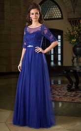 Scoop-neck Half Sleeve Tulle Dress With Appliques And Low-V Back