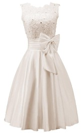 Bateau Sleeveless Satin short A-line Wedding Dress With bow And Corset Back