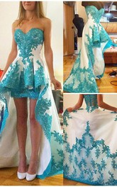 Glamorous Sweetheart Hi-Lo Cocktail Dress Lace Appliques Prom Gown