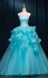 Long Tulle Straps Sleeveless Appliqued Bell Ruffled Ball Gown