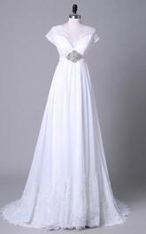 V-Neckline Lace Satin Off-The-Shoulder Tea-Length Sequined Chiffon Dress
