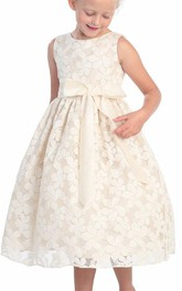 Embroidery 3-4-Length Floral Flower Girl Dress