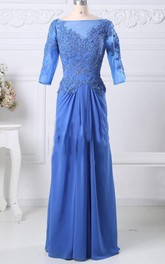 Bateau Half Sleeve Floor-length draped Dress With Lace Appliques