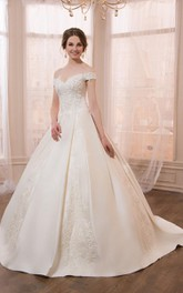 Off-the-shoulder A-line Satin Ball Gown With Appliques And Corset Back