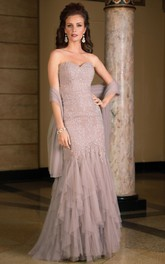 Sweetheart Tulle Appliqued Mother of the Bride Dress With Cascading Ruffles