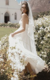 A-line Adorable Sleeveless Sweetheart Tulle Wedding Gown With Appliques And Ruffles