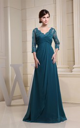 Appliqued Illusion Sleeve High-Waist V-Neckline Gown