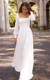 A Line Square Chiffon Floor-length Sweep Train Long Sleeve Open Back Button Wedding Dress