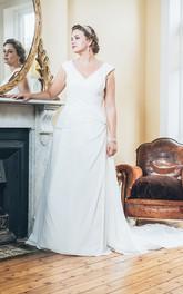 Sleeveless Low-V-Back Long A-Line Jewel Court-Train Dress