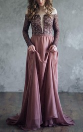 Off-the-shoulder Plunged Floor-length Dress With Lace top And Sweep Train