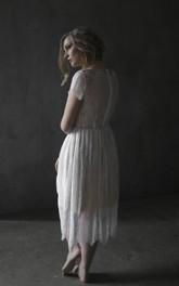 Simple Boho Tea-length Lace Wedding Dress With Zipper
