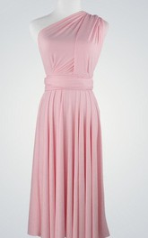 Midi-Length Pleated Chiffon Single-Shoulder Dress