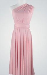 Midi-Length Pleated Chiffon Single-Shoulder Dress