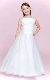 Floor-Length Bandage Bateau-Neckline Spaghetti-Strap Flower Girl Dress