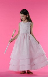Tulle Embroidery A-Line Scoop-Neckline Flower Girl Dress