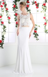 2-Piece Jeweled Column Floor-Length Sleeveless Dress