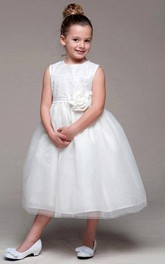 Sequined Tulle 3-4-Length Flower Girl Dress