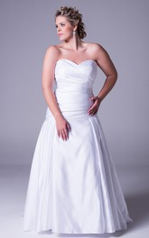 Sweetheart Criss cross Satin plus size Gown With Sweep Train