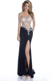 Sleeveless Chiffon Form-Fitted Prom Dress With Side Slit And Asymmetrical Waistline
