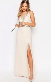 Sleeveless Split-Front V-Neck Chiffon Bridesmaid Dress