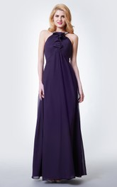 Chiffon Ruffled Detailing Halter-Neckline Gracious Gown