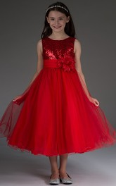 Sequined Top Flower Tulle Scoop-Neckline Flower Girl Dress
