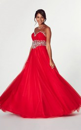 Sweetheart Ruched Ball Gown Prom Dress With Crystal Detailing