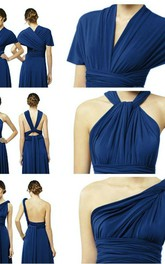 Elegant A-Line Chiffon Evening Dresses Floor Length Convertible Bridesmaid Dresses