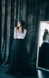 Floor-length Bateau Black Wedding Dress Sheath Long Sleeve Deep-V Back With Pleats