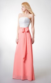 Ruched Satin Sash Floor-Length A-Line Strapless Chiffon Long Gown