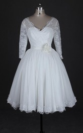 Plunged Lace 3-4-sleeve short A-line Wedding Dress With Flower
