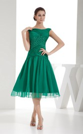 Criss-Cross Tulle Overlay Jewels Bateau-Neck Short-Midi Dress