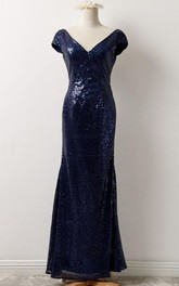 Long Low-V Back Sequined Short-Sleeve Gown