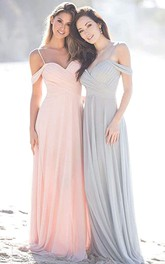 A Line Chiffon Off-the-shoulder Floor-length Bridesmaid Dress With Criss Cross
