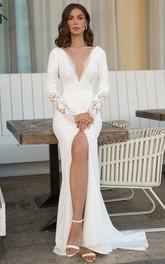 Sheath V-neck Satin Floor-length Sweep Train Long Sleeve Open Back Wedding Dress With Split Front