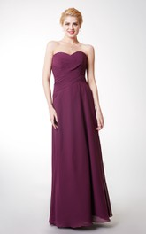 Criss Cross Ruched Floor-Length Sweetheart Bridesmaid Dress