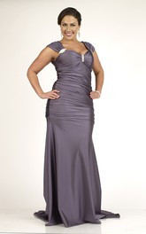 Cap-sleeve Ruched long plus size Dress With Sweep Train