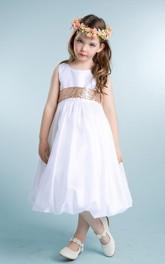 Tulle Sleeveless 3-4-Length Sequined Flower Girl Dress