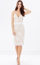 Sheath Pencil Spaghetti Dress With Appliques And Zipper